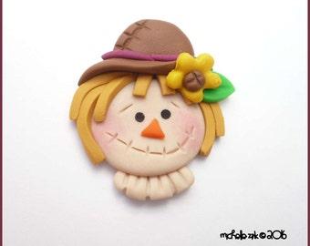 Scarecrow BOW Center Polymer Clay Flatback