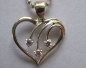 Vintage Sterling Silver Heart Pendant Necklace with Pink Diamonds