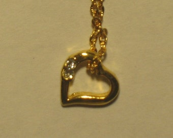 Elegant Heart Pendant with Crystals