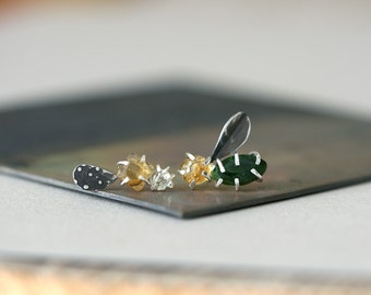 Diposide, Citrine and Crystal Quartz Form Studs