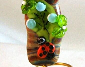 Ladybug on Leaf with a Flower Focal Burnt Wood Beads SRA