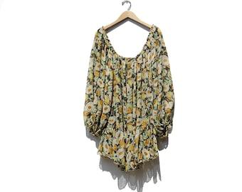 Vintage Silk Chiffon Drop Shoulder Top / Floral print Oversized Blouse