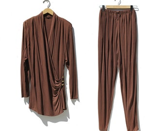 Vintage Coffee Brown Jersey Pants Set