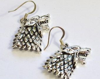 Game of Thrones House Stark Wolf Emblem Dangle Earrings