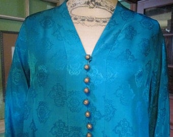 Stunning Vintage Dynasty Silk Robe - Vibrant Turquoise Gold - Hong Kong Silk - Silk Dressing Gown - Silk Coat  1940s Vintage Patterned Silk