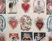 EL BARRIO HOYO Tea Multi Illustrated Hand-Drawn Latino Love Alexander Henry Cotton Quilt Fabric by the Yard, Half Yard, or Fat Quarter Fq
