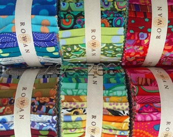 """6 JELLY ROLLS Kaffe Fassett - 1 Light 1 Dark 1 Neutral 1 Red 1 Green 1 Blue - Ultimate Assortment Quilt Fabric Design 30 Strips 2.5"""" Wide"""