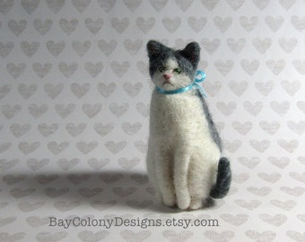 Miniature Needle-Felted Domestic Kitty Cat Sculpture with baby blue ribbon - READY TO SHIP (10716)