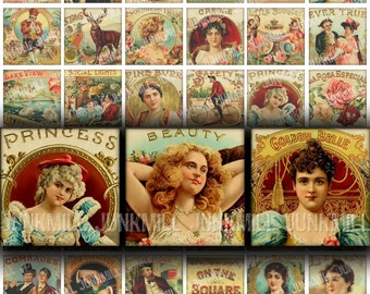 """HUMIDOR - Digital Printable Collage Sheet - Vintage Rococo Cigar Box Labels, Victorian Women, 1"""" Square or Scrabble Tile, Instant Download"""