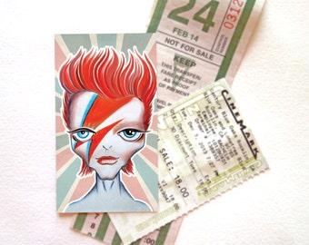 Ziggy Refrigerator Magnet Mini Art, Art on your fridge, Ziggy Stardust, David Bowie Magnet, Swap, Pen Pal gift