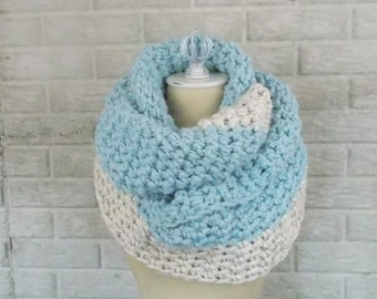 Chunky Knit Infinify Scarf / Circle Scarf / Loop Scarf / ~ Colorblock Glacier with Wheat ~ No. 1010