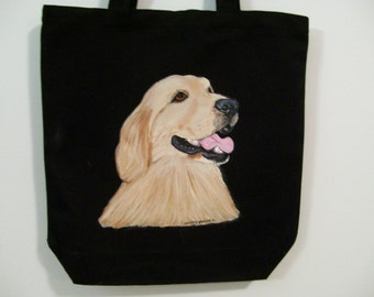 Reuseable Canvas Tote Bag Golden Retriever (profile)