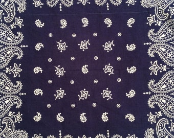 vintage ca. 1950s deep indigo blue Elephant Trunk Up bandana (THREE AVAILABLE)