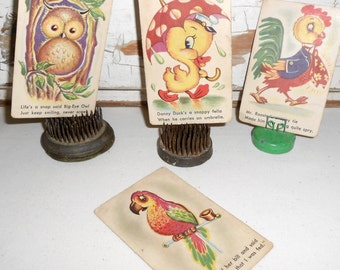 Vintage Whitman Cards, Danny Duck, Mr. Rooster, Big-Eye Owl, Polly