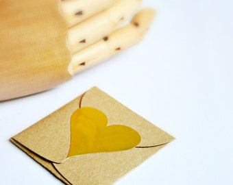 Heart Stickers {1.75inch or 45mm} Metallic Matte Gold Foil Gift Envelope Seals Wedding Engagement Contemporary Gift Wrap
