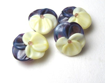 PANSY Beads, Lampwork Bead Pairs, handmade floral supplies for jewelry or embellishment, viola, glass flower