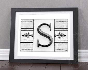 Gallery Wall Print | 8x10 Initial Print | Wedding Monogram Gift | Black and White Letter Photograph | Choose Your Letter | DIGITAL FILE