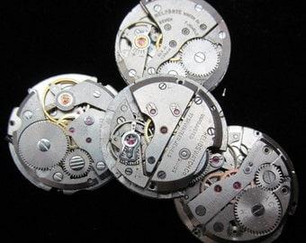 Vintage Antique Round Watch Movements Steampunk Altered Art Assemblage TM 57