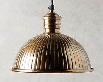 Ribbed Brass Drop Pendant Shade Light (Pair of Available)