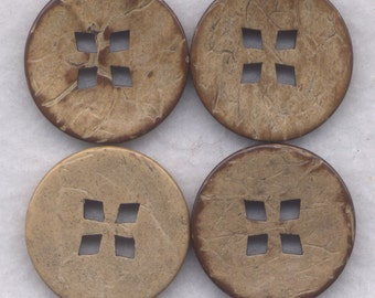 Coconut Wood Buttons Decorated Wooden Buttons 24mm (1 inch) Set of 4 /BT395