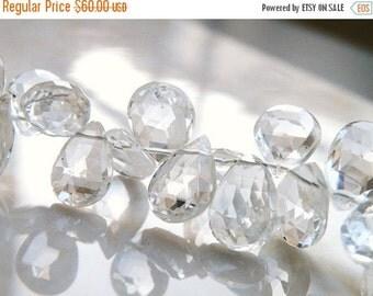 Mega SALE Topaz Gemstone Briolette Clear White Faceted Pear Almond Drop Briolette Top Drilled 10.5mm 17 beads