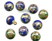 Vintage Millefiori Beads / Buttons 8mm Blue & Green Glass - Aventurine Swirls - Japan 10 Pc. Lot