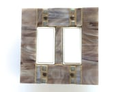 Decorative Wall Plate, Gray Switchplate, Taupe Switch Plate, Brown Light Switch Cover, Stained Glass Mosaic, Double Decora, Mosaic 8261