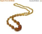 SALE Amber Czech Glass Bead Necklace - Vintage, Long Necklace