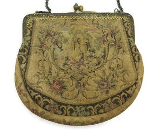 Antique Petit Point Purse - Green Glass, Tapestry