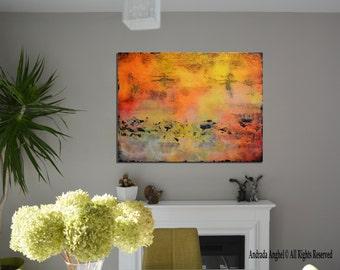 "Original Abstract,  Orange Painting, large original art, , Huge 40""x30"" painting Contemporary Art Painting"