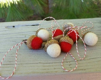 Wool Needle Felted Acorn Ornaments in Red & Off White Set of 8 Holiday Decorations