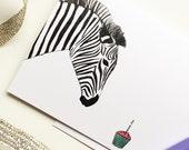 Zebra Birthday - Greeting Card - Celebration, Cupcake, Candle