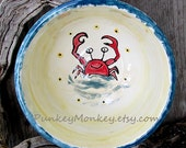 Custom crab bowl or plate kiln fired ceramic pottery soup chowder salad beach ocean dinnerware tableware custom pottery sea creatures