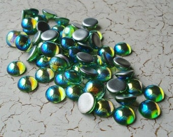 12 Vintage 9mm Czech Preciosa Peridot AB Silver Foiled Flat Back Round Glass Cabs or Stones