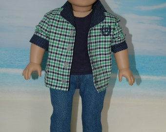 18 inch, boy doll clothes, Shirt, tee shirt, jeans, pants, shoes
