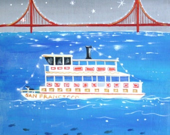 "San Francisco Ferry Print, Ride the Midnight Ferry 7x7"", Hawk art, san francisco ferry print, ferry boat, housewares, room decor"