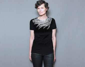 Womens Graphic T shirt - Peacock Shirt for Women - Silver Metallic Feather Screen Print