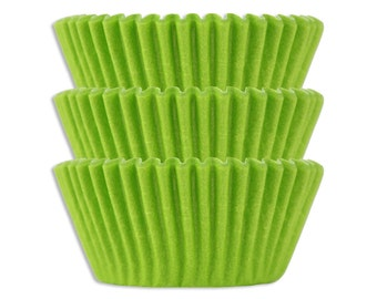 Solid Lime Green Baking Cups - 45 bright solid lime green paper cupcake liners