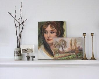 vintage. original oil painting portrait. woman. 12 x 16 long hair. soft eyes. beautiful. mid century modern. antique