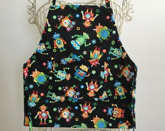 Children Apron Full Body Smock Silly Robots with Pocket
