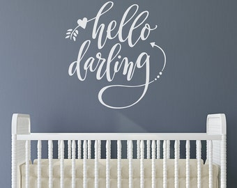 Nursery Art | hello darling | hello darling wall decal | baby room design | hand drawn lettering