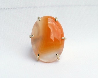 Orange Agate Ring, large stone ring, orange ring, dyed agate jewelry, prong set, ring size 5, Botswana, handmade ring