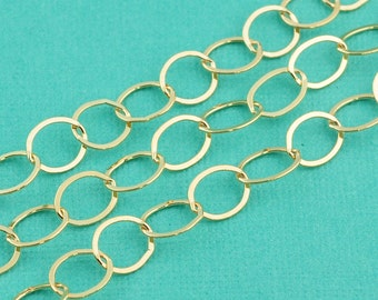 14K Gold Filled Bulk Chain 7mmx8mm Flat Cable link
