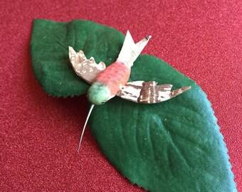 Leafy Barrette with Mini Hummingbird