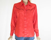 Vintage 80's Red Satin Western Shirt.
