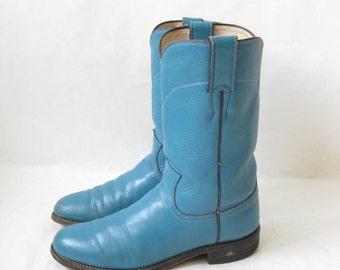 Vintage 80's JUSTIN Blue Roper Boots. Size 6 1/2 Women's