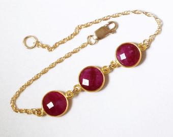 Red Ruby Bracelet Precious Ruby Bracelet Real Rubies Genuine 3 Stone Ruby Bracelet 14k Gold Bezel July Birthstone BZ-B-106B-Ruby/g
