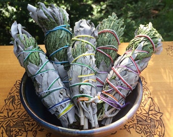 "White Sage & Cedar 5"" Smudge Wands . Cleansing and Clearing the Home of Negativity, Spiritual Cleansing"