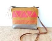 weekdayer  • small crossbody bag - geometric print • hot pink geometric print - neon - orange - screenprinted - metallic silver leather