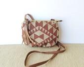 date purse  • crossbody bag - geometric • red and khaki geometric print - canvas - gifts under 50 - screenprinted • vukani